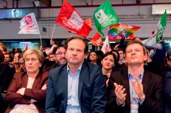 Marie-Noëlle Lienemann, sénatrice, Jean-Marc Germain et Mathieu Hanotin, directeurs de campagne de Benoit Hamon