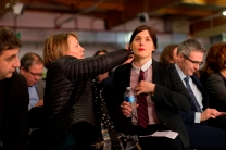 Valérie Donzelli, comédienne, soutien de Benoit Hamon, juste avant son entrée sur scène.
